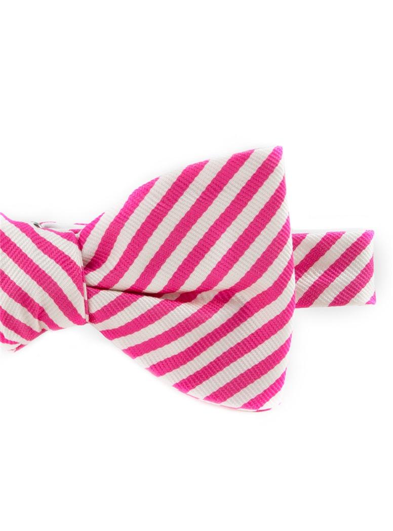 Silk Striped Bow Tie in White and Azalea