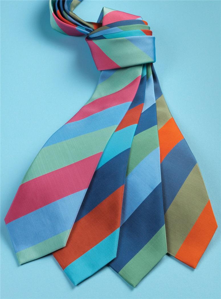 Mogador Block Stripe Tie in Mint, Denim and Sky