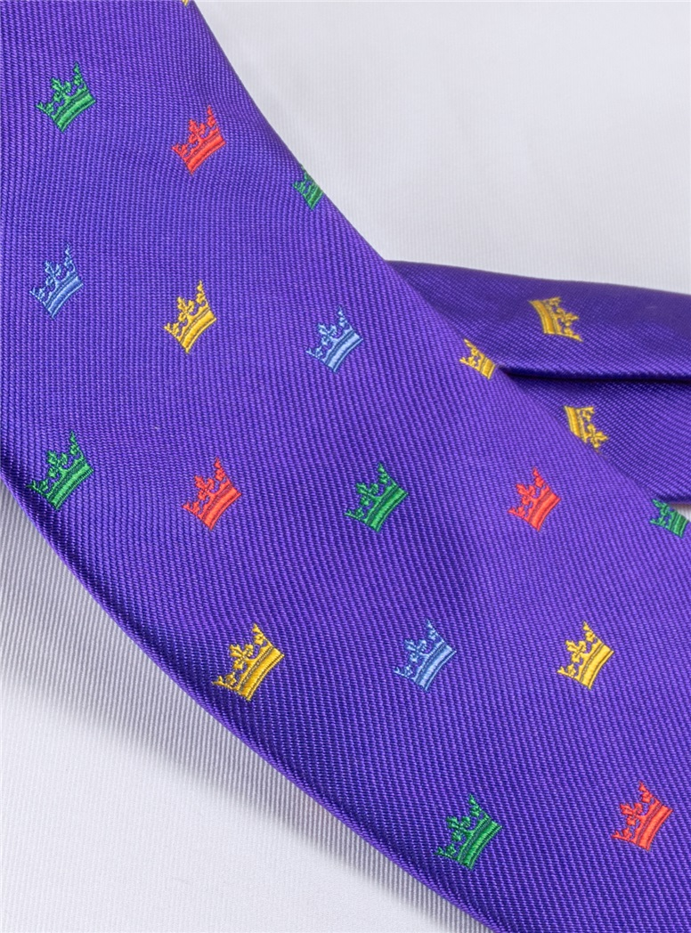 Silk Woven Crown Motif Tie in Violet