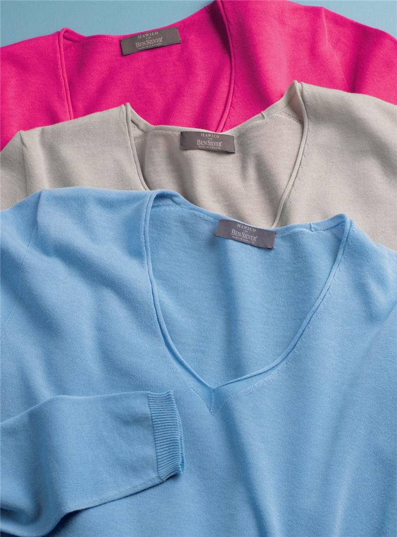 Ladies Lightweight Cotton V-Neck Sweater
