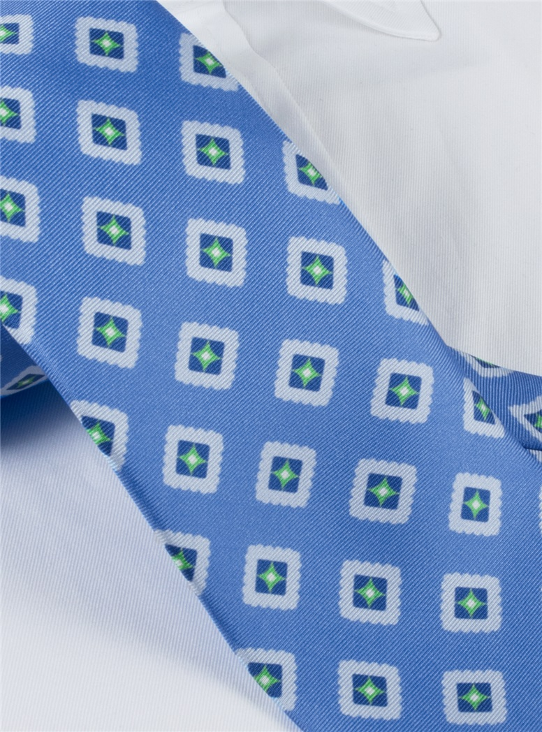 Silk Printed Tile Motif Tie in Cornflower