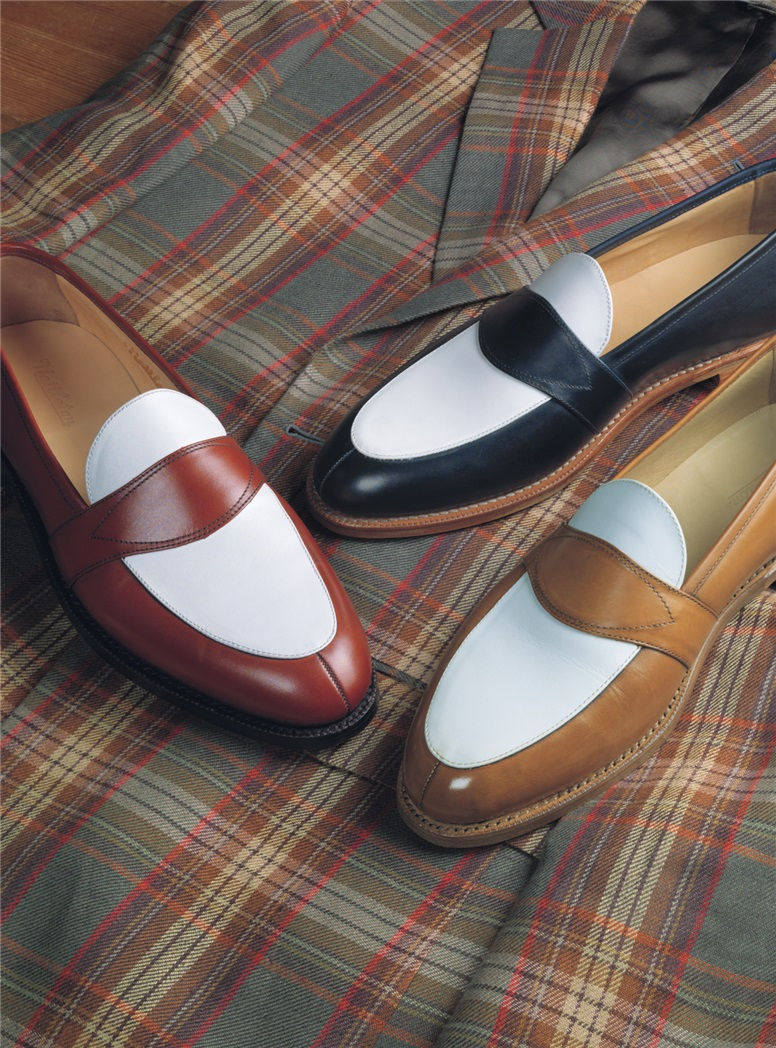 The Charleston Loafer in Whiskey and White