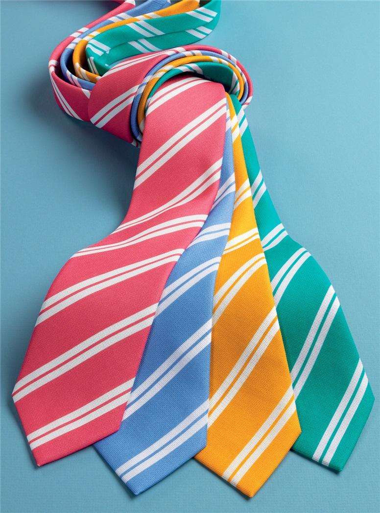Silk Panama Weave Striped Tie in Strawberry