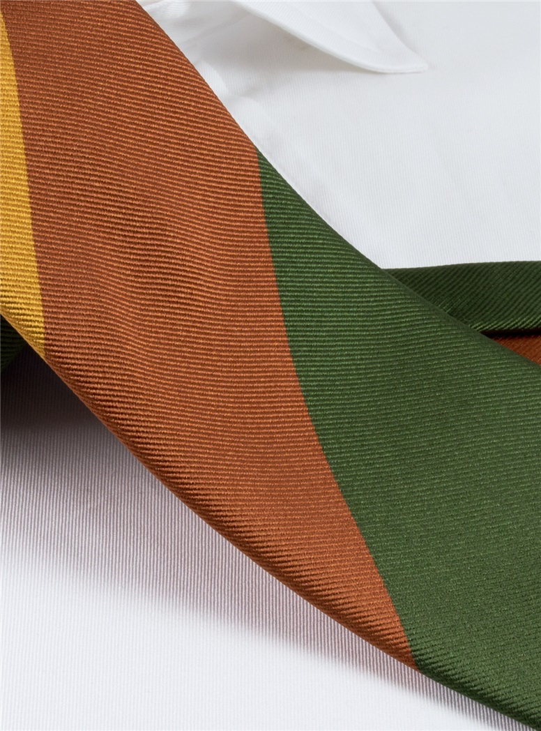 Silk Block Stripe Tie in Spice, Gold, French Blue and Fern