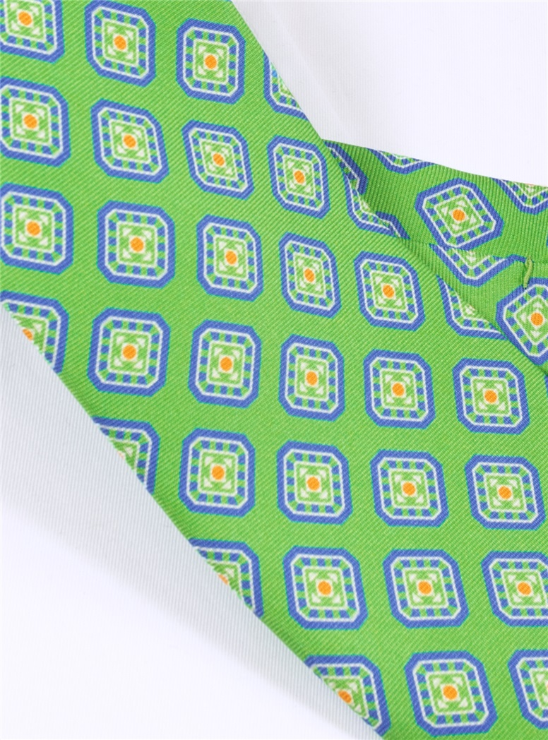 Silk Diamond Motif Printed Tie in Grass
