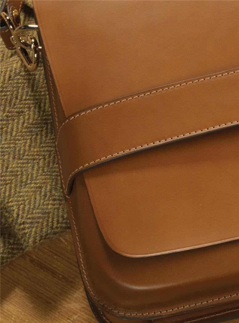 Leather Messenger Bag in Golden