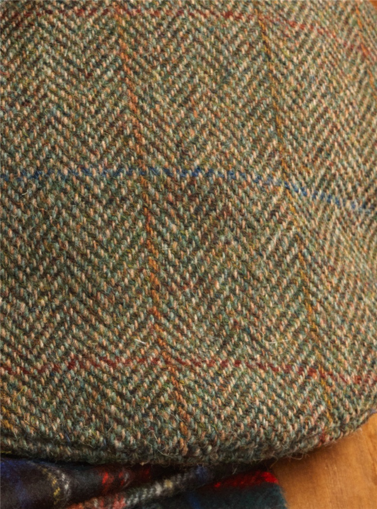 Wool Glen Cap in Chocolate and Wheat Herringbone