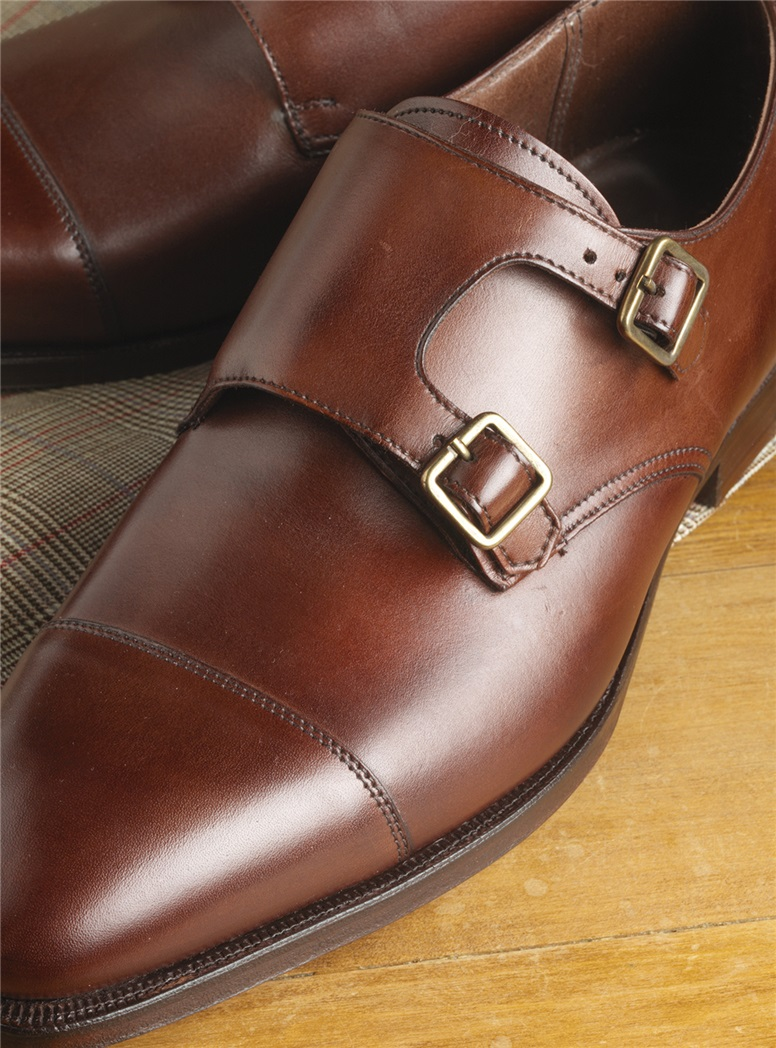 The Repton Double Monk Strap in Chestnut, Size 8