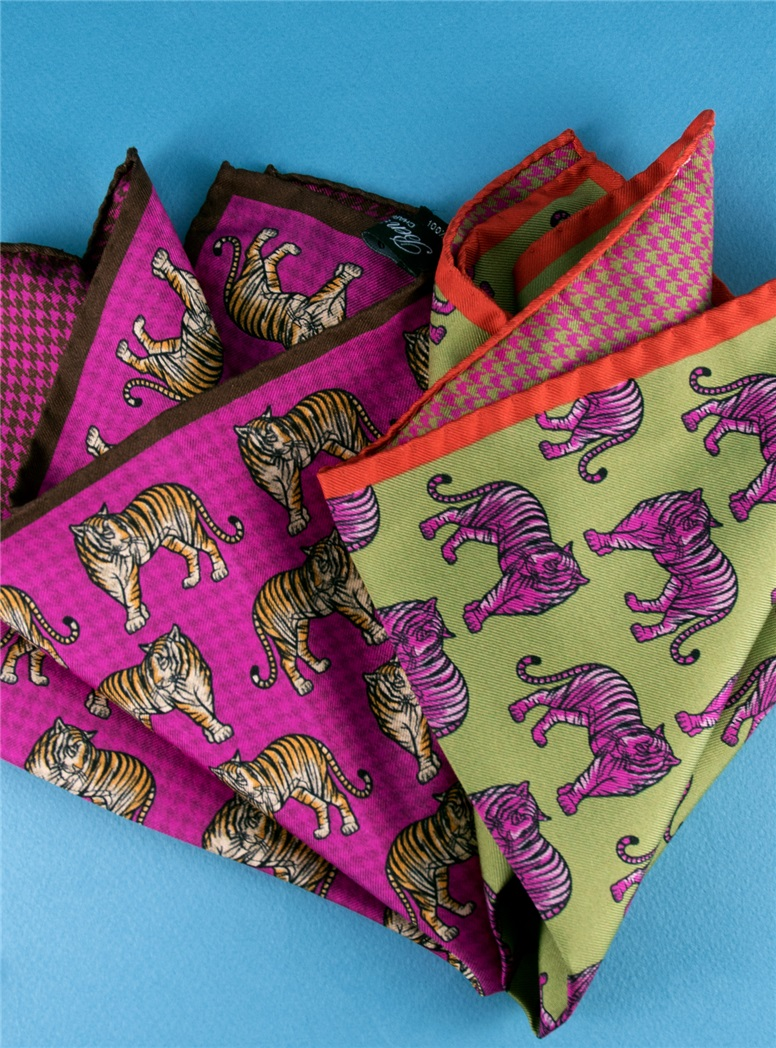 Silk Reversible Tiger and Houndstooth Printed Pocket Square