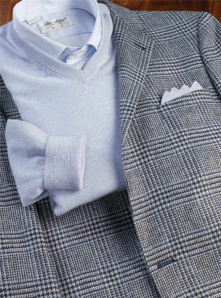 Midnight Blue & Cloud Grey Glen Plaid Wool Sport Coat with Blue Windowpane