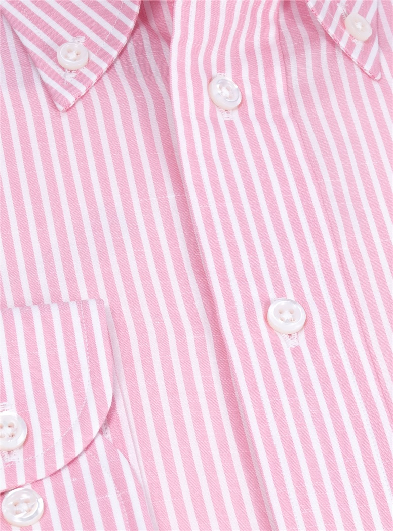 Cotton and Linen Pink and White Stripe Buttondown