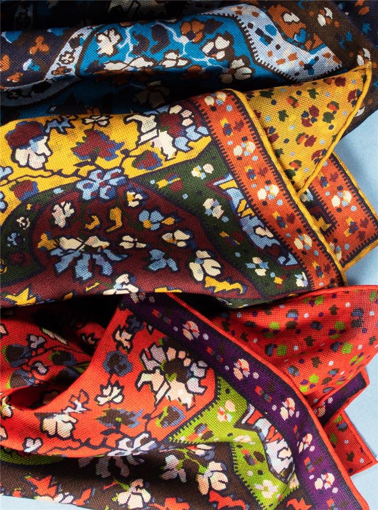 Silk Reversible Floral Printed Pocket Squares