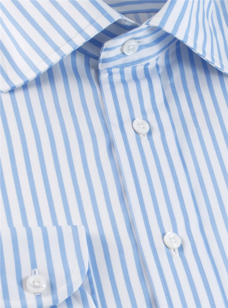 Light Blue & White Stripe Twill Spread Collar
