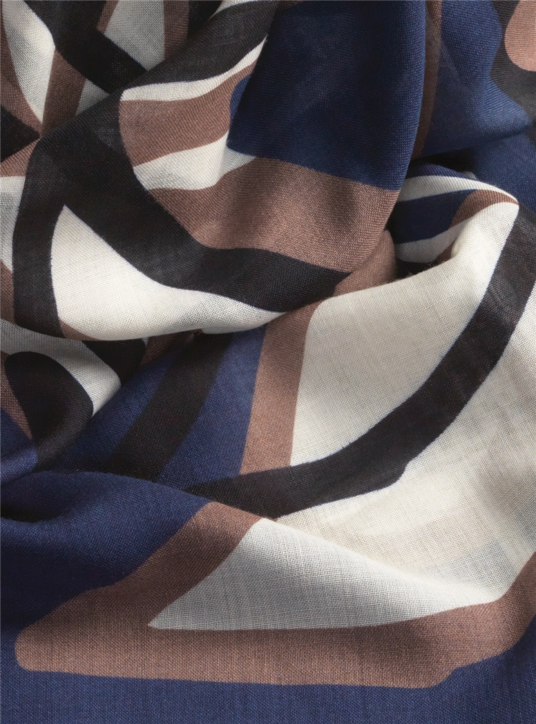 Ladies Wool and Cashmere Abstract Printed Scarf in Navy