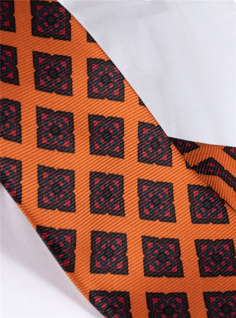 Silk Diamond Motif Tie in Copper