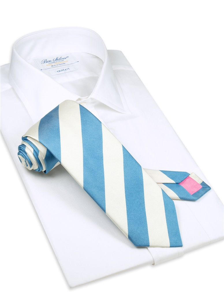S10-Pacific Blue and White Block Stripe Tie