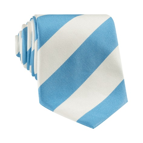Pacific Blue and White Block Stripe Tie