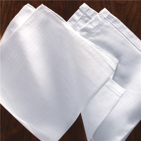 White Linen Pocket Squares