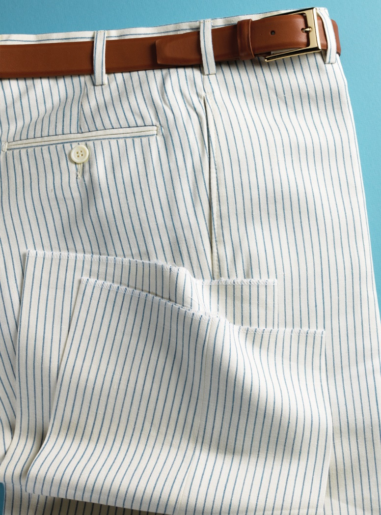 Cream Trousers with Blue Pinstripe in Wool, Silk, and Linen