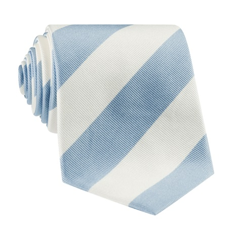 S79-Ice Blue and White Block Stripe Tie