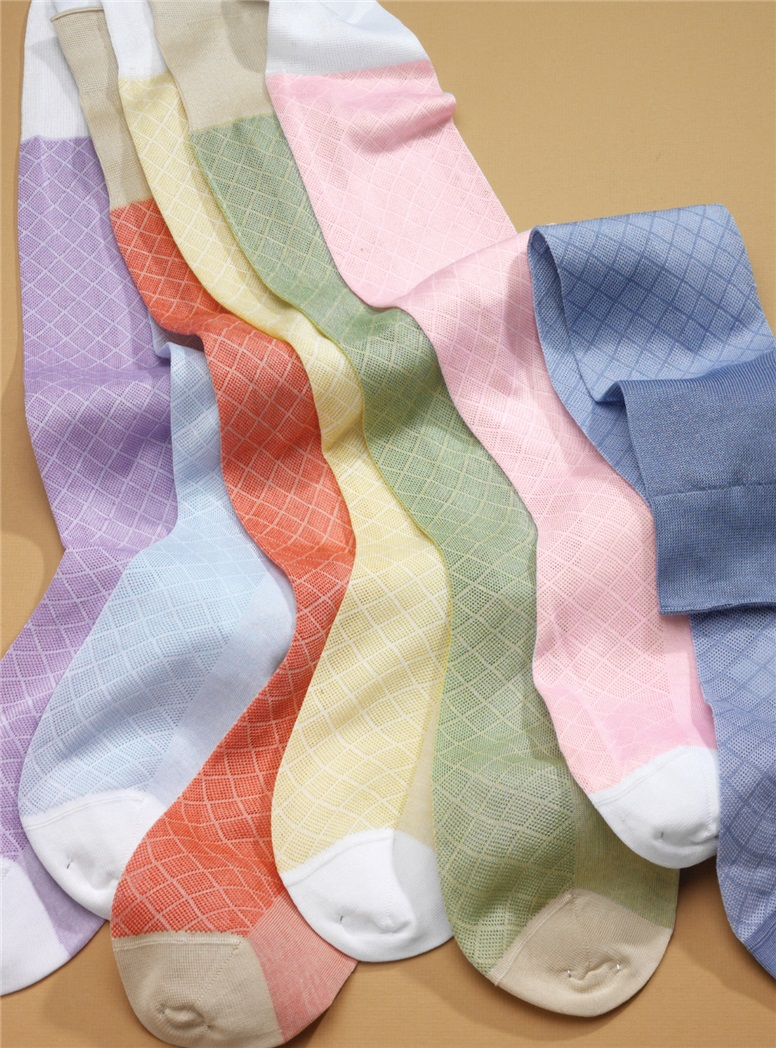 Cotton Grid Socks in Bright Colors