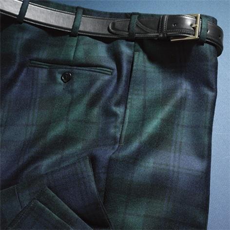 Black Watch Wool Trousers in Forward Pleat