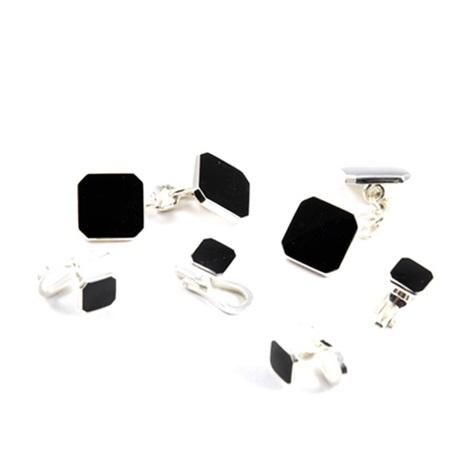 Sterling Silver Black Enameled Cufflink and Stud Sets