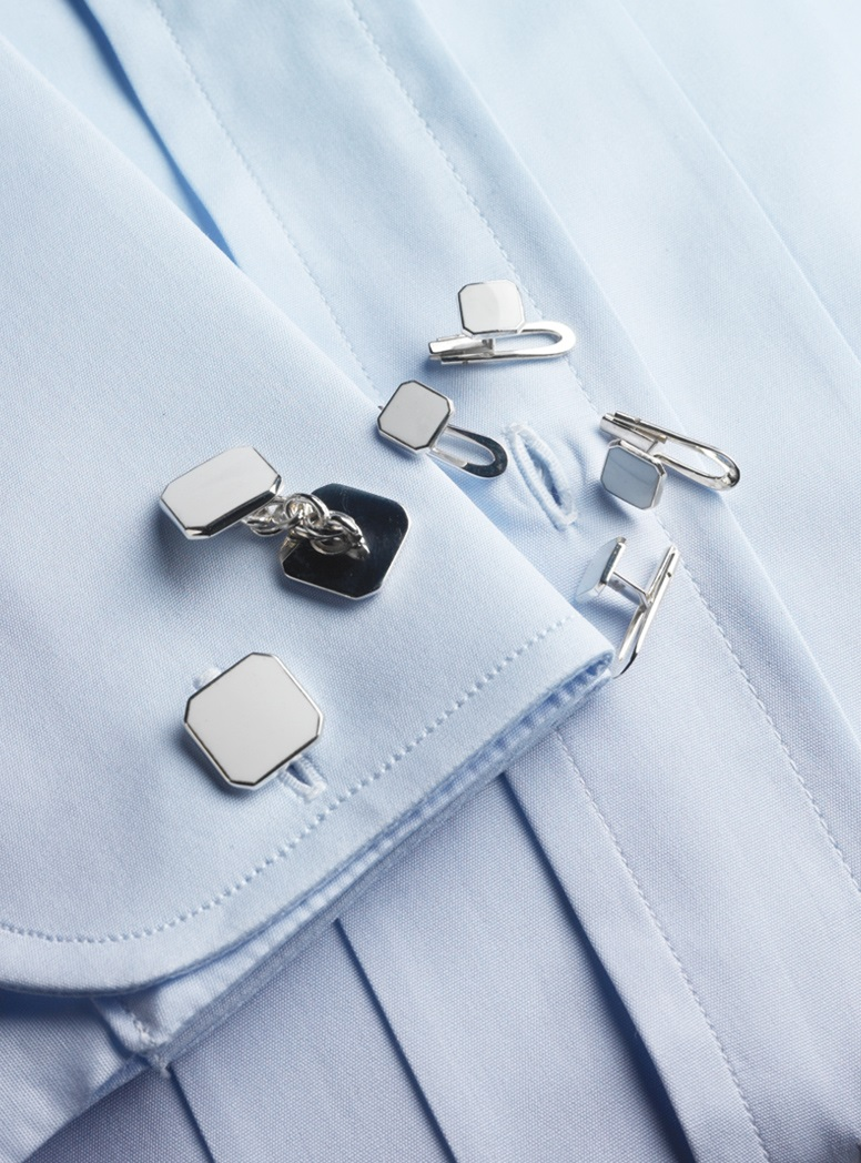 Sterling Silver White Enameled Cufflink and Stud Sets