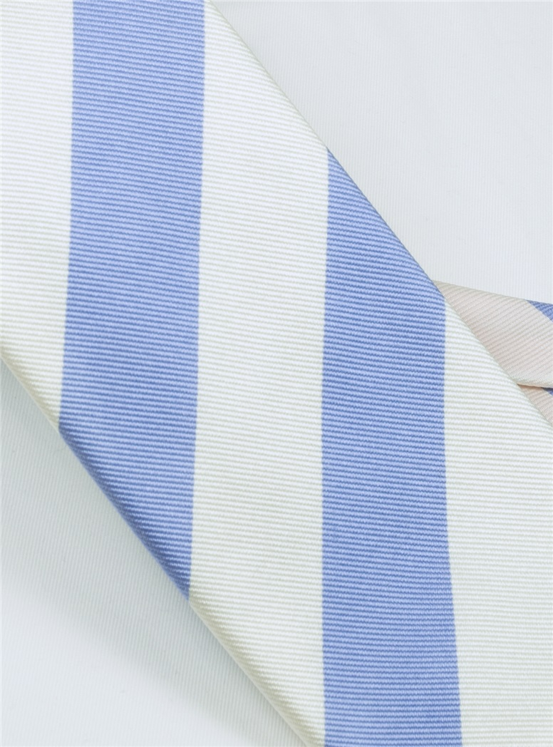 S04- Baby Blue and White Block Stripe Tie