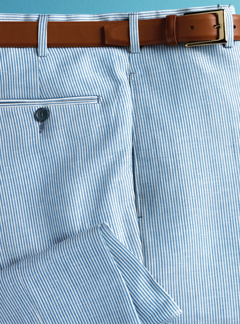 Sky and White Hairline Stripe Trousers in Wool and Linen