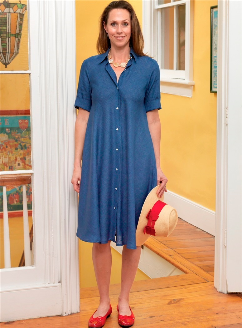 Ladies Linen Flare Dress