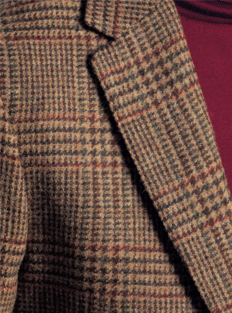 Chocolate and Nutmeg Glen Plaid Wool Sport Coat with Claret Accents