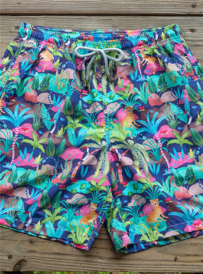 Sea Grass Print Trunks in Lime