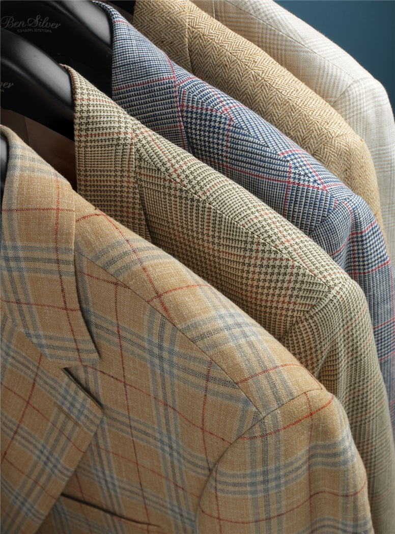 Navy and Ivory Glen Plaid Sport Coat in Wool, Silk, and Linen