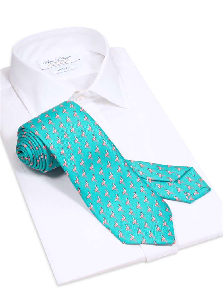 Flamingo Printed Tie in Teal