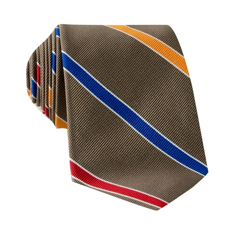 Silk Multi-Stripe Tie in Mocha