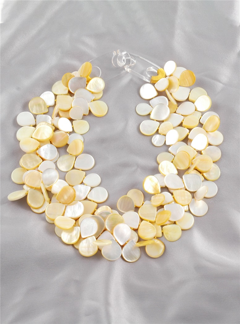 3 Strands Yellow Mother of Pearl Petal Necklace