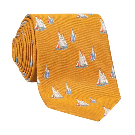 Jacquard Woven Sailboat Tie in Marigold