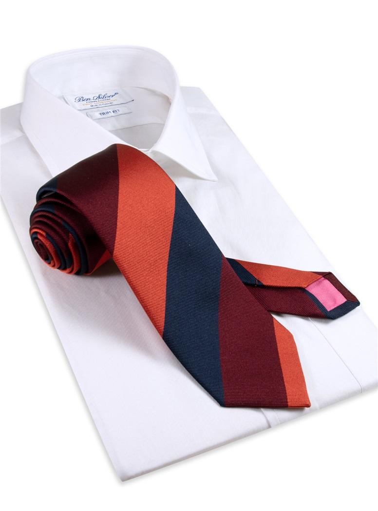 Silk Triple Stripe Tie in Chili