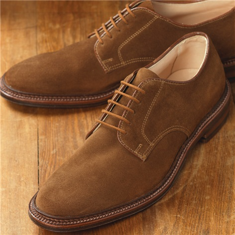 The Alden Plain Toe Blucher in Snuff Suede