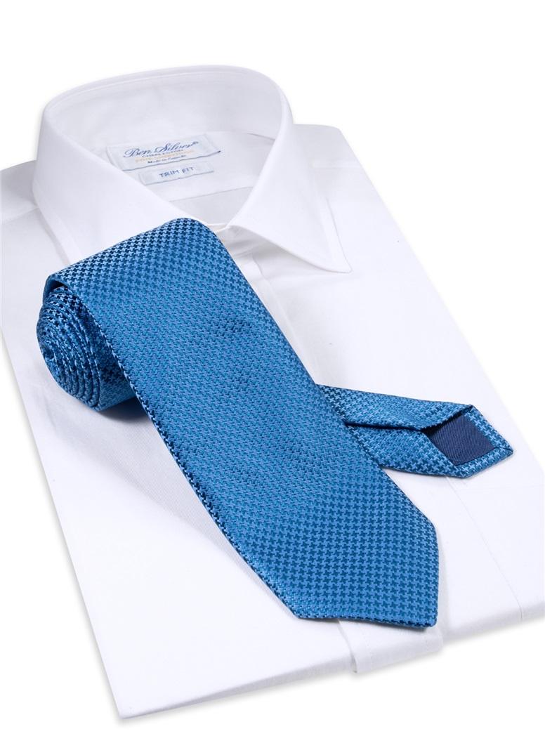 Silk Basketweave Tie in Cobalt and Royal Blue