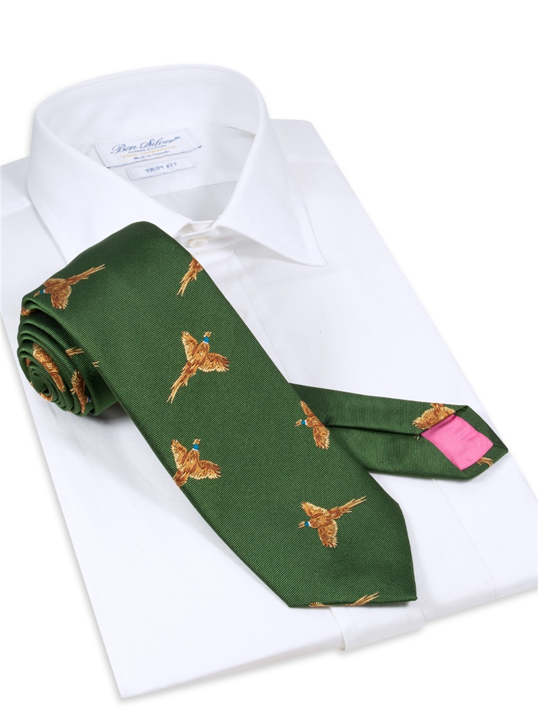 Silk Woven Pheasant Tie in Forest