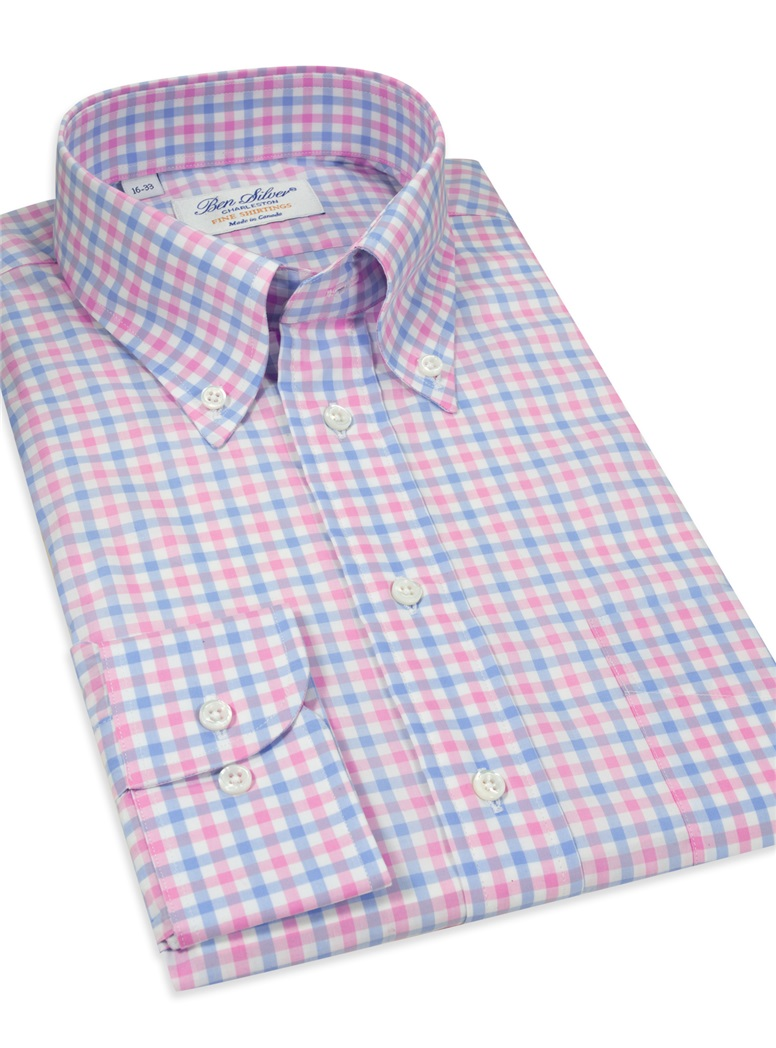 Traditional Check Pink/Blue Button Down