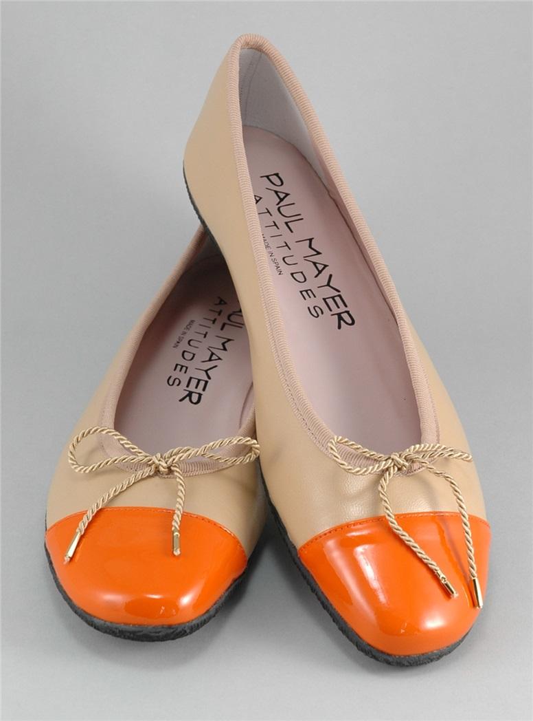 Contrast Toe Beige and Orange Flats