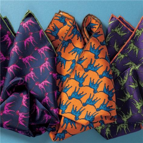 Silk Sporting Dog Pocket Squares