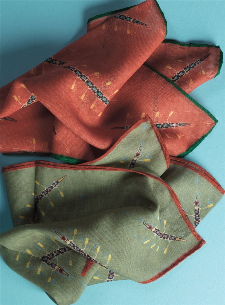 Cotton and Cashmere Rowing Motif Pocket Squares