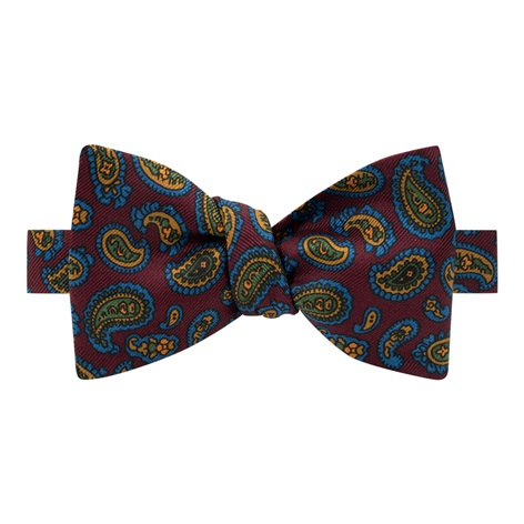 Silk Paisley Printed Bow Tie in Plum