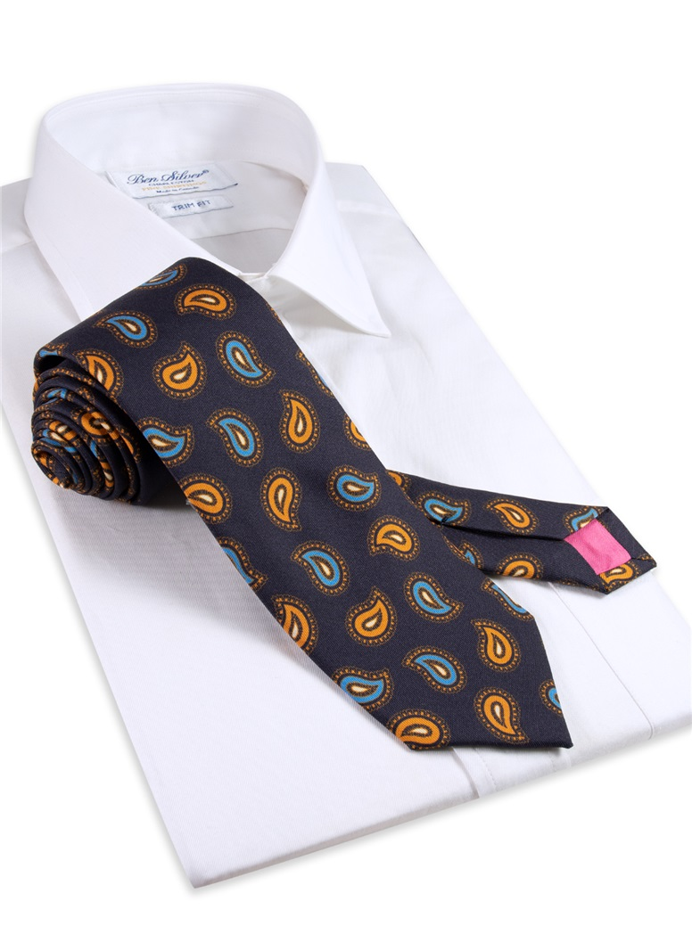 Silk Paisley Printed Tie in Navy