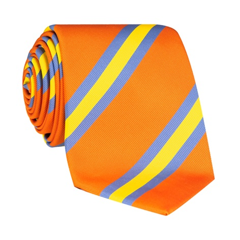 Silk Stripe Tie in Tangerine