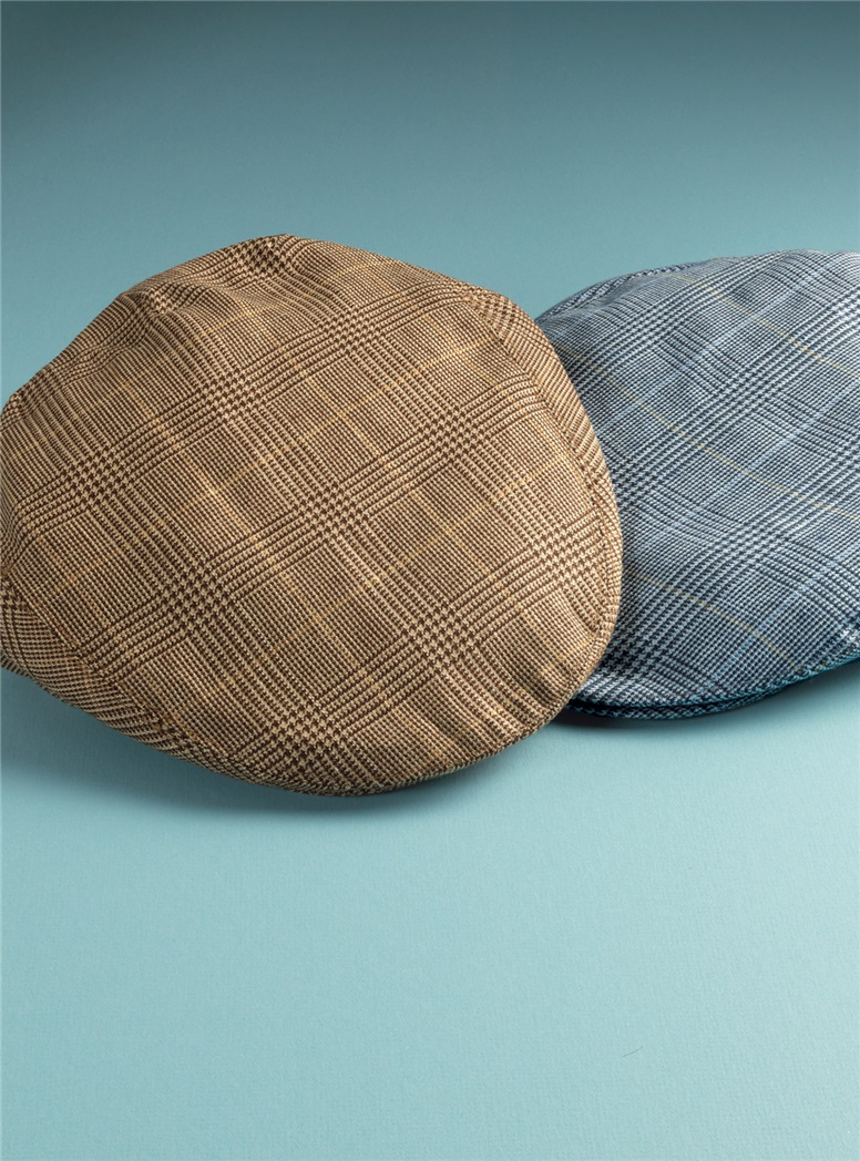 Wool and Linen Garforth Cap in Chocolate Glen Plaid